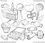 Candy Cake Illustration Clipart Outlined Vector Visekart Royalty 2021 sketch template