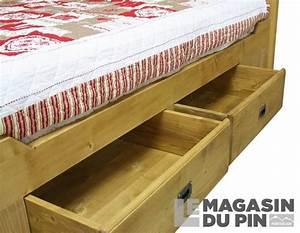 Lit Double Avec Tiroir : lit double 160x200 avec tiroirs en pin massif chamonix le magasin ~ Teatrodelosmanantiales.com Idées de Décoration