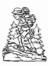 Hiking Coloring Pages Camping Backpack Boy Getcolorings Printable Netart Dora Camp Pa sketch template