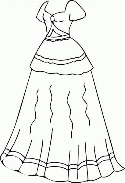 Coloring Pages Clothes Printable Clothing Dresses Clipart