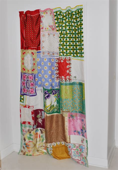 shabby chic curtains from vintage hankies and scarves