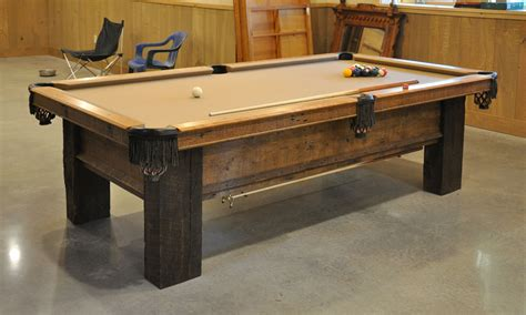 custom pool table  reclaimed lumber finewoodworking