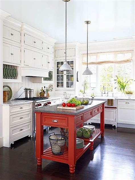 perfect red country kitchen cabinet design ideas for red island