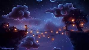 Wallpaper : illustration, artwork, stars, clouds, lantern ...