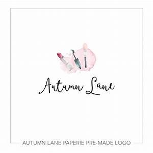 Pink Makeup Watercolor Logo H40 - Autumn Lane Paperie