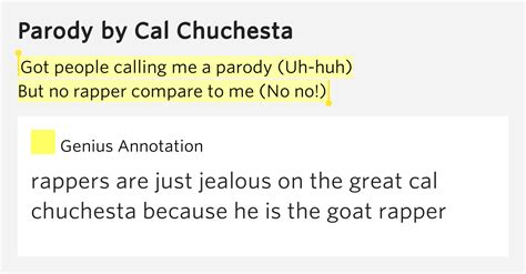 Got People Calling Me A Parody (uh-huh) / But No Rapper