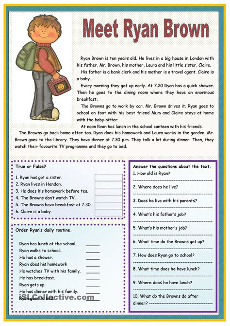 esl reading comprehension worksheets  adults