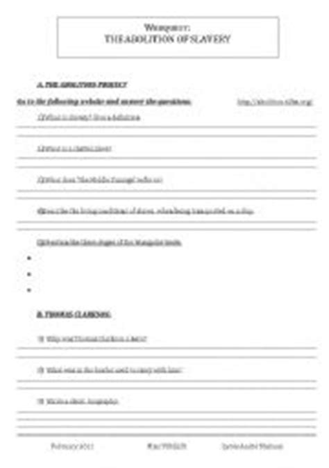 teaching worksheets slavery