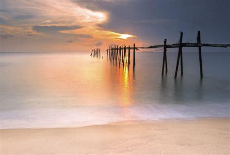 papier peint chambre à coucher adulte coucher de soleil poster géant fin de journée sur la plage