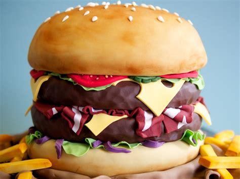 Burger Cake  Crumbs & Doilies