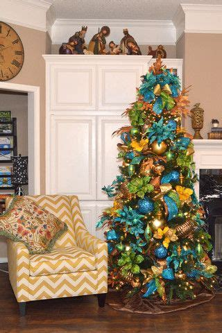 peacock christmas tree ideas  pinterest