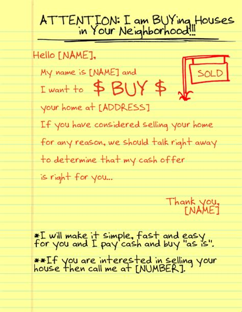 yellow letter template yellow letters for motivated sellers levinrad real 8576
