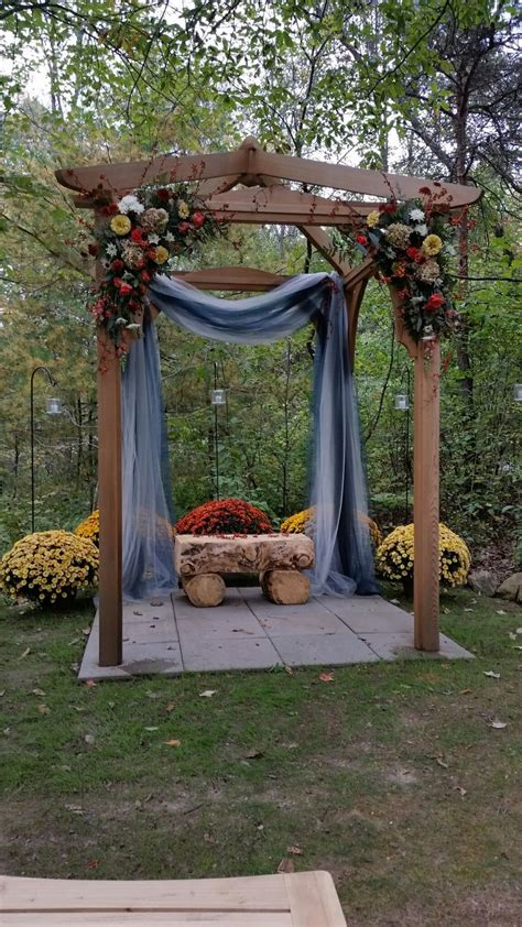 wedding pergola decorated  ridgemont farms wedding