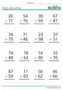 Sumas llevando Hojas de sumas de 2 y 3 cifras llevando