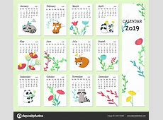 Calendar 2019 vector template with cute animals — Archivo