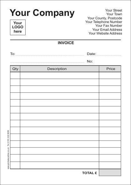 printable invoices printable contractor invoice template