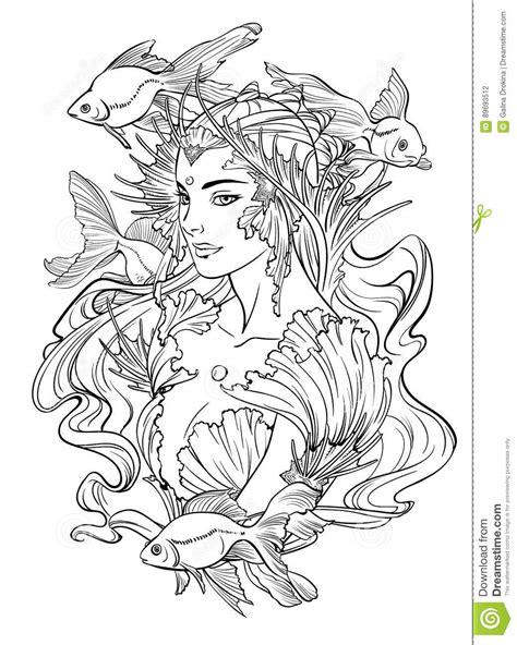 Illustration Of Mermaid Princess. Vector Illustration