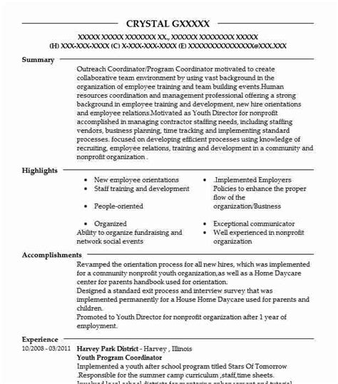 Resume Programs by Youth Program Coordinator Resume Sle Resumes Misc