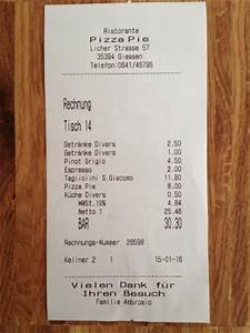 Italienisch Rechnung : rechnung bild von restaurant pizza pie gie en tripadvisor ~ Themetempest.com Abrechnung