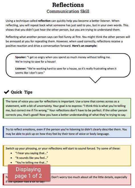 reflections communication skill worksheet therapist aid