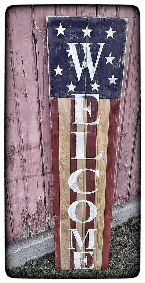 Rustic Wood God Bless America Sign For Porch
