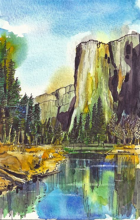 Terrys Ink And Watercolor Cathedral Lake Yosemite
