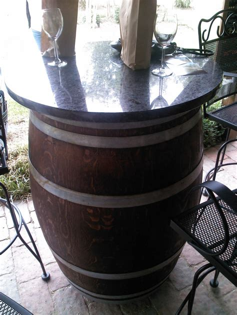 wine barrel table for outdoor patio for the home