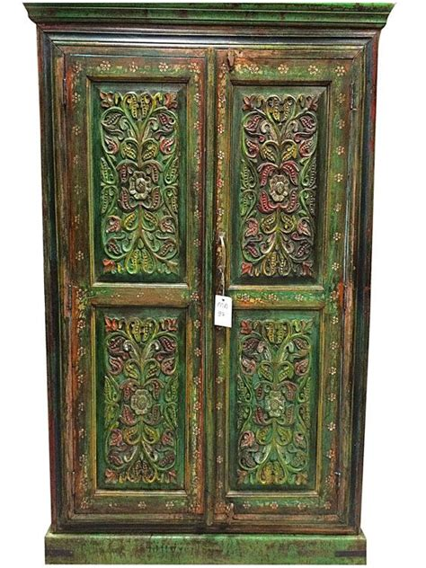 Rajasthani Green Almirah Armoire Media Cabinet Hand