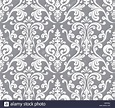 Vector. Seamless elegant damask pattern. Grey and white ...