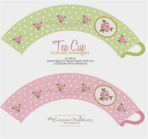 papirolas coloridas printable teacup cupcake wrappers