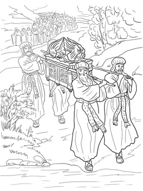 joshua   israelites cross  jordan river coloring page  printable coloring pages