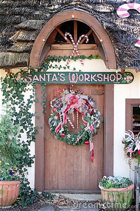 santas workshop door stock photo image