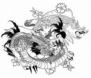 Hand Drawn Dragon And Koi Fish With Flower Tattoo For Arm, Japanese Carp Line Drawing Coloring