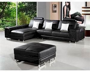 Modern, Style, Black, Leather, Sectional, Sofa, 44li957