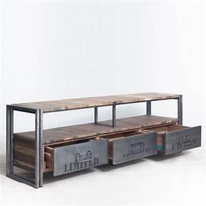 Meuble Tv Industriel Bois Metal : meuble tv industriel ~ Teatrodelosmanantiales.com Idées de Décoration