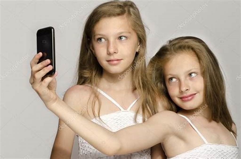 #Two #Young #Girl #Taking #A #Selfie #Kids #Taking #A #Photo #And
