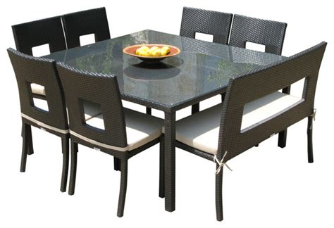 square outdoor dining table seats 8 outdoor wicker resin 8 piece square dining table chairs