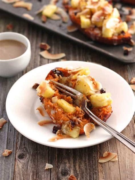 vegan  baked sweet potatoes  pineapple  coconut