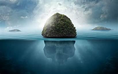 Skull Underwater Island Secrets 4k Ultra Background