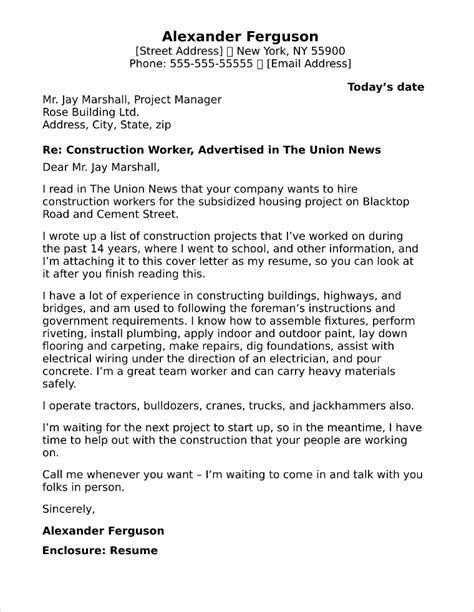 Letter Construction Worker by 20 Free Cover Letter Sles For Different And Careers