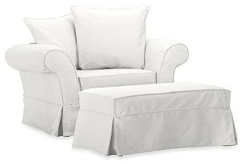 charleston chair and a half slipcover denim warm white