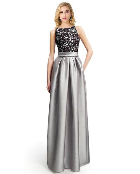 Classical Lace Satin Long Evening Gowns Sleeveless V Open ...