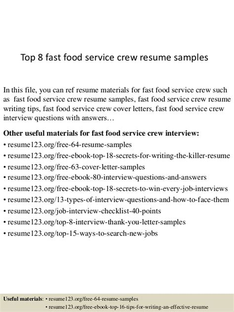 Food Attendant Resume Objectives by Top 8 Fast Food Service Crew Resume Sles
