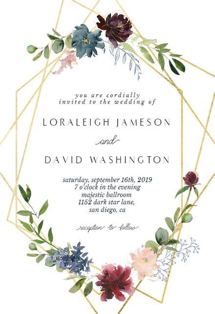 geometric flowers wedding invitation template