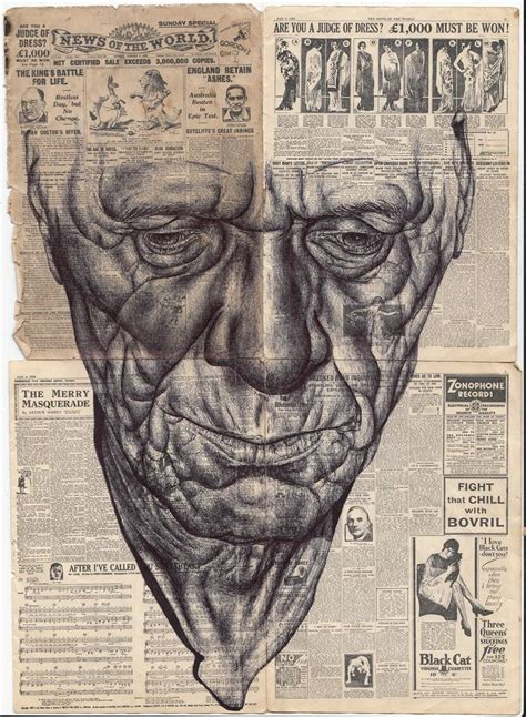 saatchi art bic biro drawing  miniature  newspaper