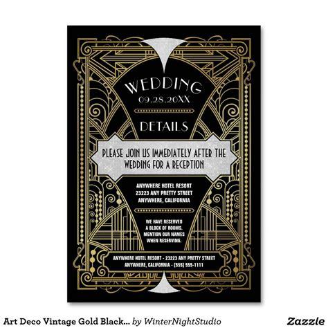 Art Deco Vintage Gold Black Wedding Inserts Cards Zazzle
