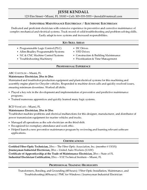 exle maintenance electrician resume sle