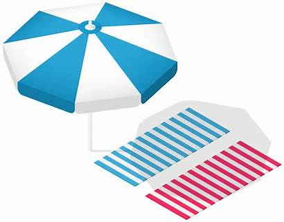 Transparent Clip Towels Sunshade Clipart Striped Vacation