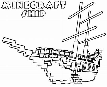 Minecraft Coloring Pages Colouring Printable Sheets Ship
