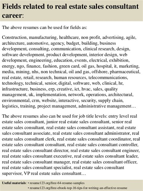 Real Estate Sales Consultant Sle Resume by Realestate Sales Resume